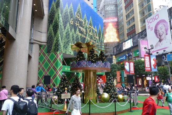Christmas tree decor going up at Times Square - Picture of Times ...