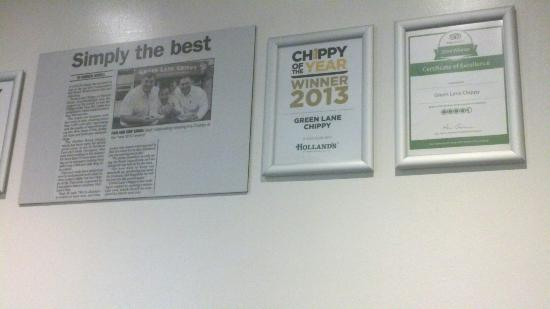 Green Lane Fish and Chip Restaurant: Chippy award