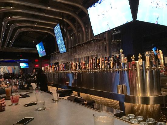 Yard House: Check The Lineup Of Beer Taps And The Pipes In The Ceiling.