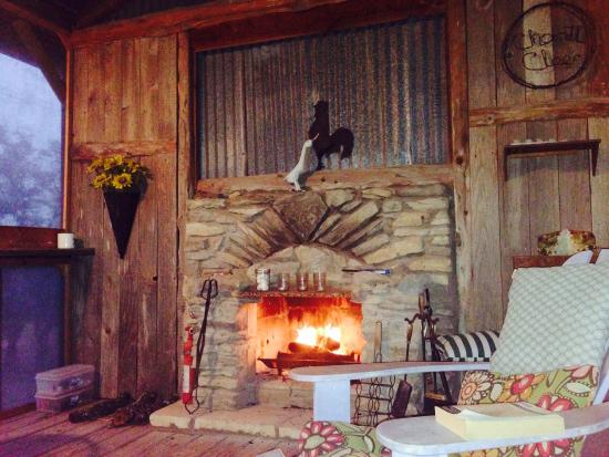 Chanticleer Log Cabin: Shelter with fireplace and MARSHMALLOWS!!!