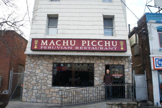 Machu Picchu Peruvian Restaurant: Exterior from the street. Doesn't look like it would be so nice inside.