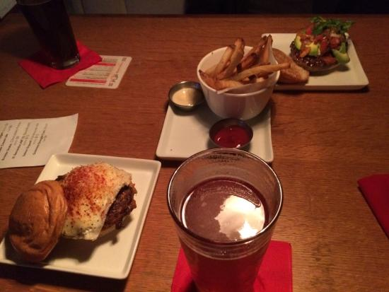 Flip Burger Boutique: Two of the wide variety of burgers and fries!!!