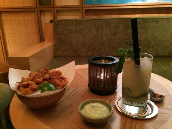 EMIKO Restaurant & Bar: Drink & Appetizer in the Lounge near Fireplace