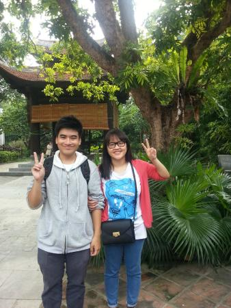 HanoiKids Free Tour: Posing in Silk Village with her newbie out for his first trip after 2 months of training!