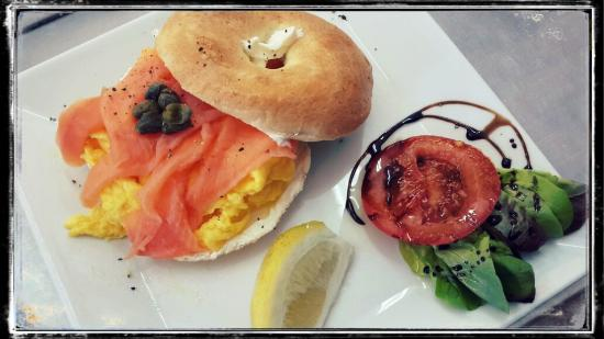 Lauren's: Salmon & scrambled egg on a toasted bagel