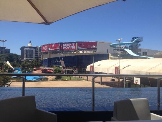 AHA Gateway Hotel: View from breakfast table, overlooking water / wave park