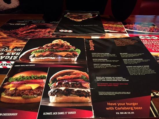 TGI Friday's: carte page burgers
