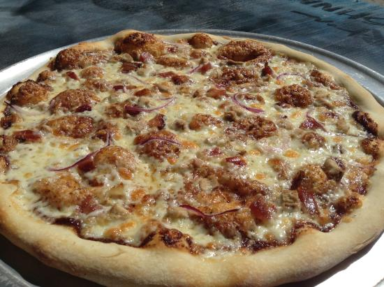 The Pizza Shop : BBQ Pheasant- House made Texas style bbq sauce, pan seared wild pheasant, smoked bacon, and red