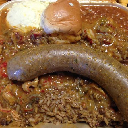 Poche Market & Restaurant : Boudin, Crawfish Etouffee, Rice Dressing, Baked Beans, Potato Salad