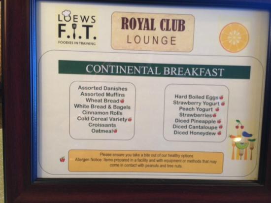 Club Room Menu Loews Royal Pacific Resort