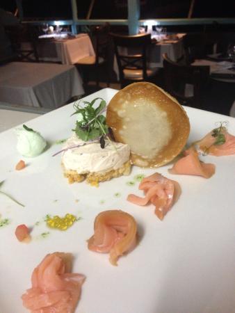 L'Effet Mer: Cheese cake salé,sorbet citron basilic