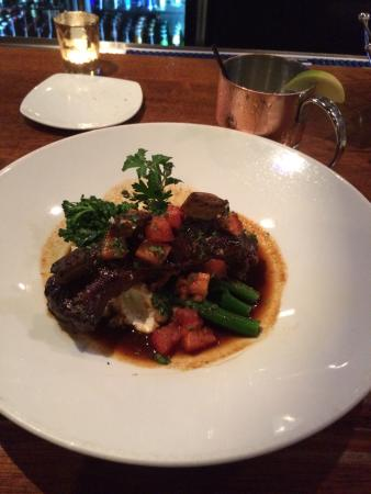 Koberl At Blue: Braised buffalo shortribs on top of goat cheese mashed potatoes