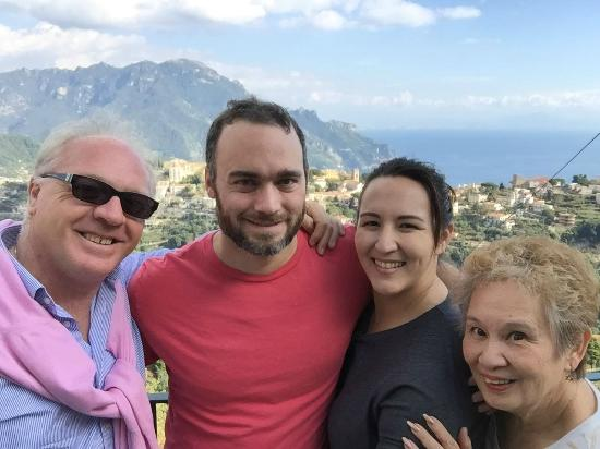 Smile Travel Car Sorrento: Our group after a wonderful lunch with a great view of the Amalfi Coast.