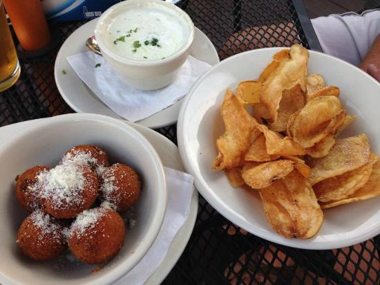 Ballydoyle Irish Pub & Restaurant: Favorite appetizers:  Corned Beef Balls and Irish Chips with Blue Cheese Dipping Sauce