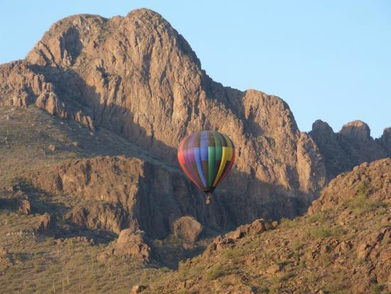 Fleur de Tucson Hot Air Balloon Rides: Our flight approaching Sombrero Peak