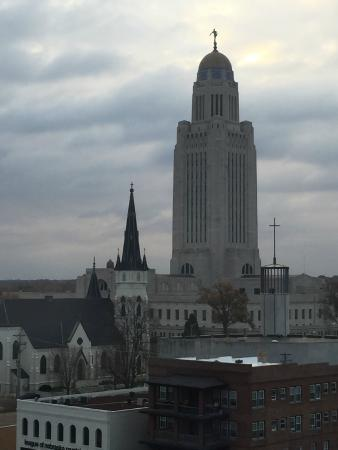 The Lincoln Marriott Cornhusker Hotel: View of the State Capitol from our room on the 8th floor