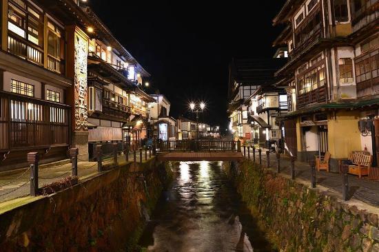 Notoya Ryokan: Ginzan Onsen Town at night