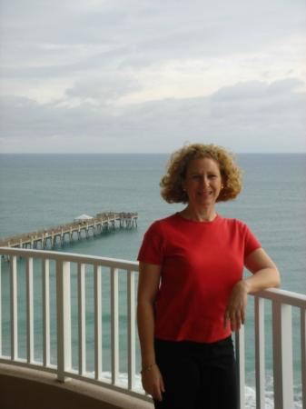 me on a balcony. Juno Beach pier in background