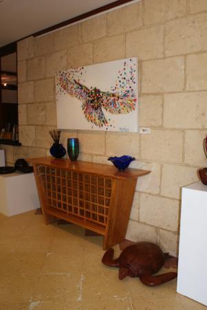 John Streater Fine Furniture Gallery: Marri wine rack by John Streater, painting by T Keller