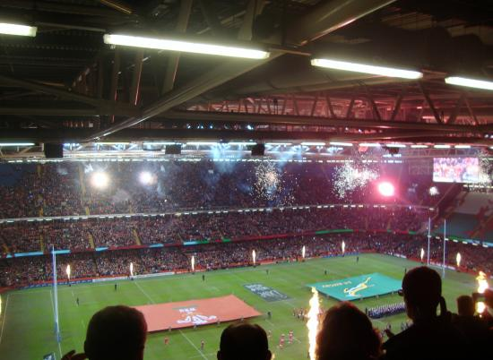Principality Stadium: Fireworks greeting the entrance of the players.