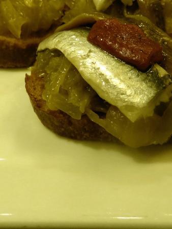 Casa Urola: Foie Gras, Caramelized Onions, Sardine, Anchovy, and Roasted Pepper