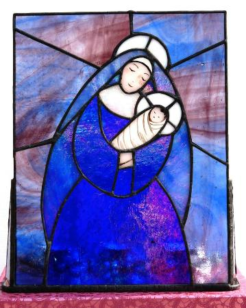 Sushannah's Angels: Mother Mary stained glass tealight holder