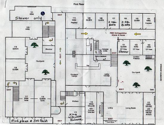 Cypress Inn: First floor plan