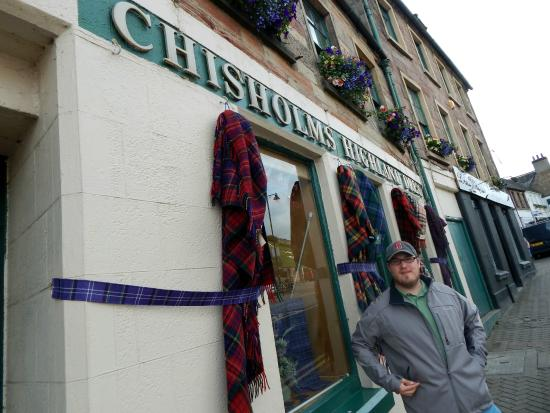 Chisholms Highland Dress: Me outside the store