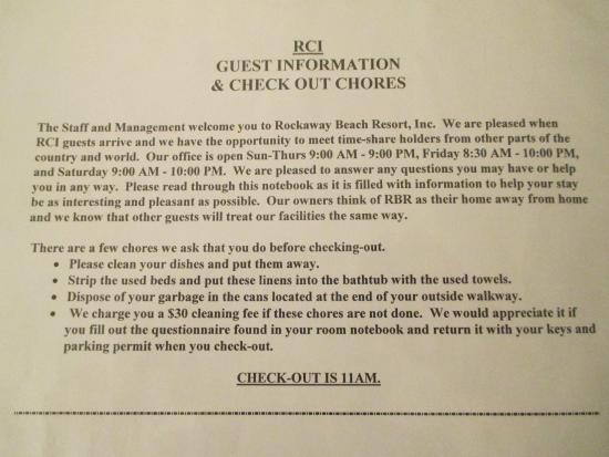 "Rockaway Beach Resort: RCI GUESTS ""Checkout Chores List"""
