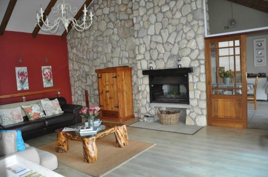 Kleinzee Oceanfront Guesthouse : Aufenthaltsbereich mit Kamin