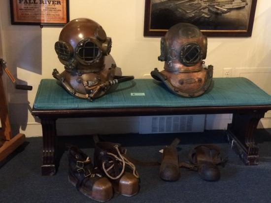 Marine Museum: My diving helmet and shoes on the left; the museum's helmet and shoes on the right.