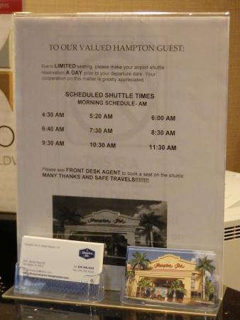 Hampton Inn Ft. Myers - Airport I-75: Airport shuttle schedule (day)