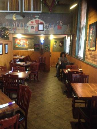 Okra's Cajun Creole : Tables for two along the windows are available.