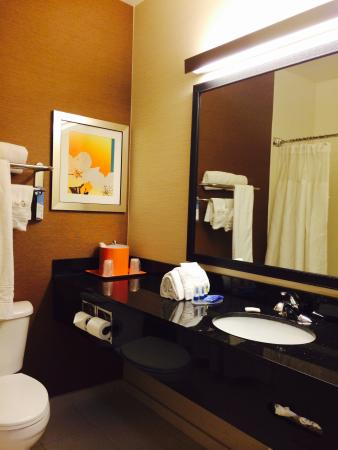 Fairfield Inn & Suites Dallas Park Central: Clean and spacious bathroom