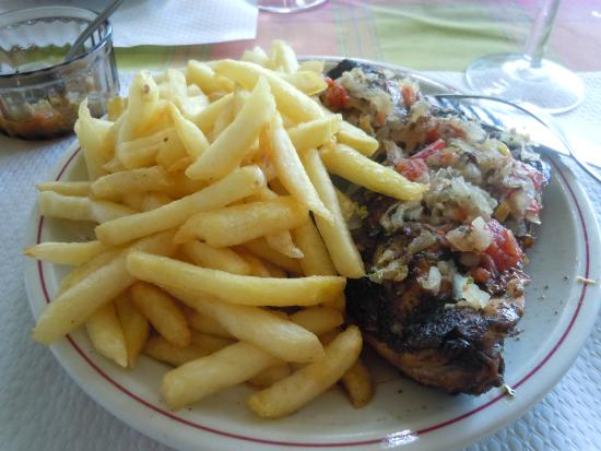 Sable D'or : the best poulet boucane (smoked chicken) we had in martinique - with piment confit and fries
