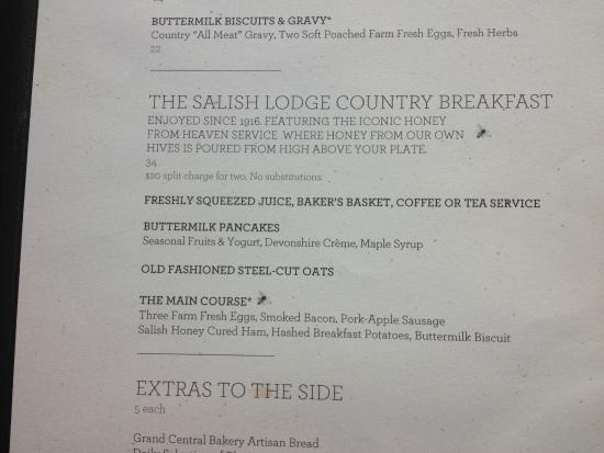 breakfast menu - picture of the dining room at salish lodge & spa