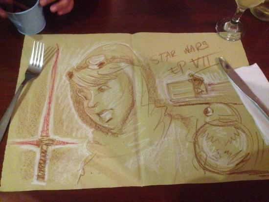 Cafe de Geneve: We can draw at the table!!!