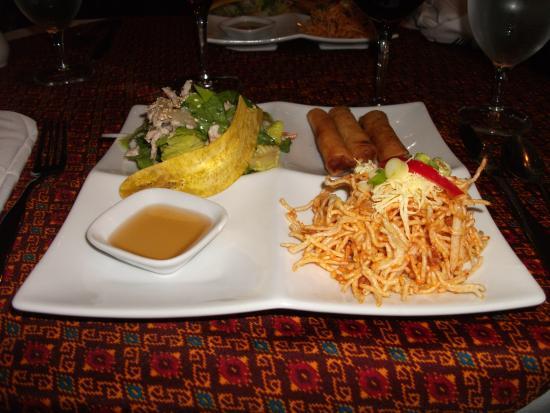 Apsara: Entrée: Rouleaux porc et crevettes, nouilles, salade porc, chip banane plantain