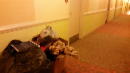 La Quinta Inn & Suites Plantation at SW 6th St: Lixo dos sacoleiros largado no meio do corredor