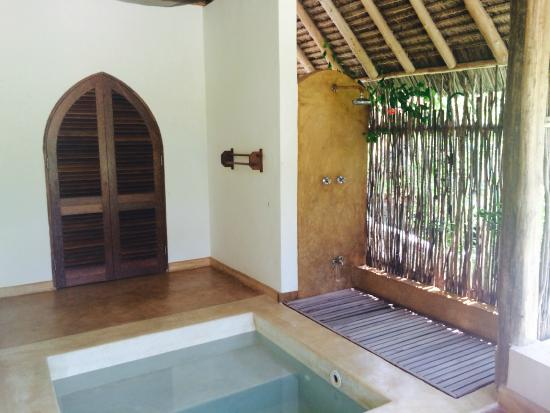 Green and Blue Ocean Lodge: Outdoor shower and plunge pool