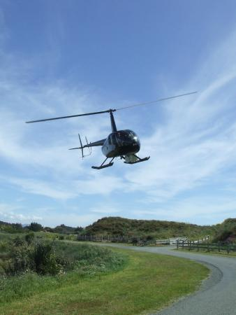 The helicopter that dropped me off right outside Atahuri- the view was incredible from above