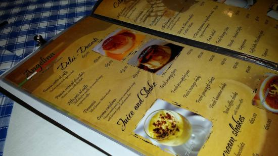 Ristorante Angelina: Menu is extensive