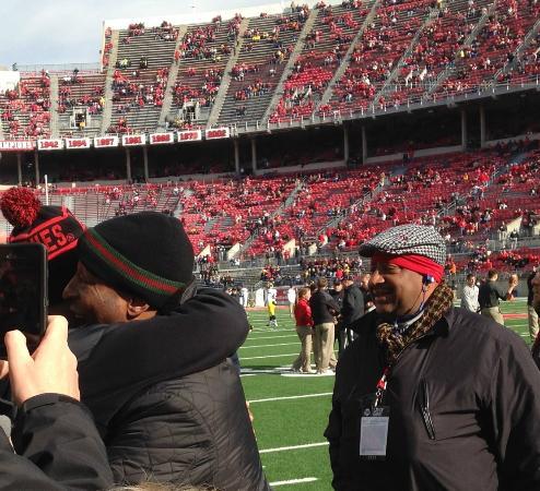 Ohio State University: Chris Carter greets a recruit