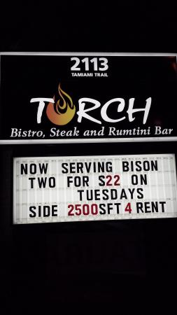 Torch Bistro : Welcoming Sign