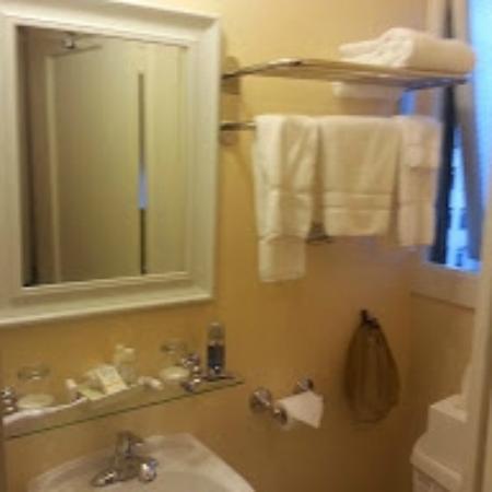Andrews Hotel: Right half of bathroom, from doorway.