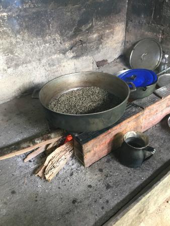 San Rafael - Tourist Inn in Tayrona: Roasting Some Coffee Beans