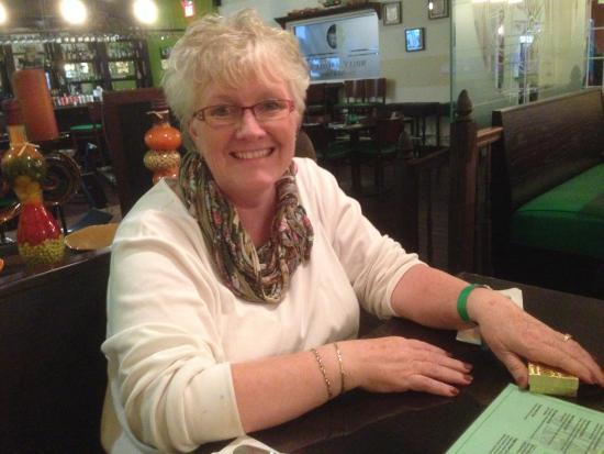 Molly Malone's-Irish Pub & Eatery: Dottie checking out the menu.