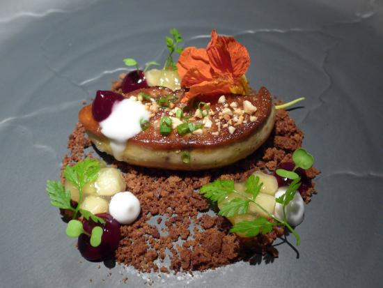 Aston Dining Room And Bar Fois Gras On Crushed Gingerbread Base With Edible Nasturtium
