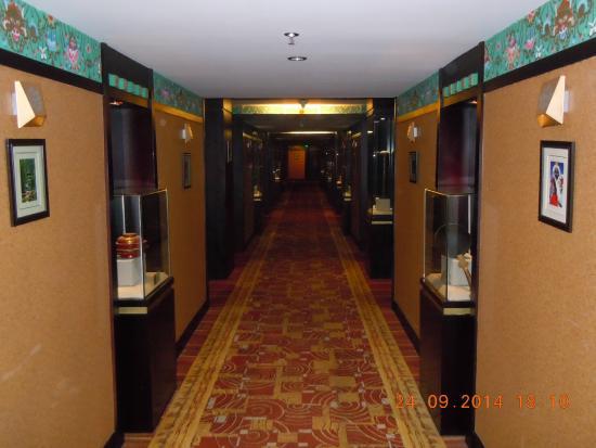 Brahmaputra Grand Hotelhmcc Dia: Zicht in de gang naar de kamers (de glazen kastjes)