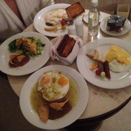 Room service! Soooooooo good! Breakfast, lunch, dinner- as good as any restaurant.